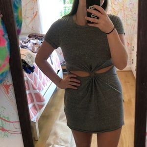 Grey t shirt dress with cutouts